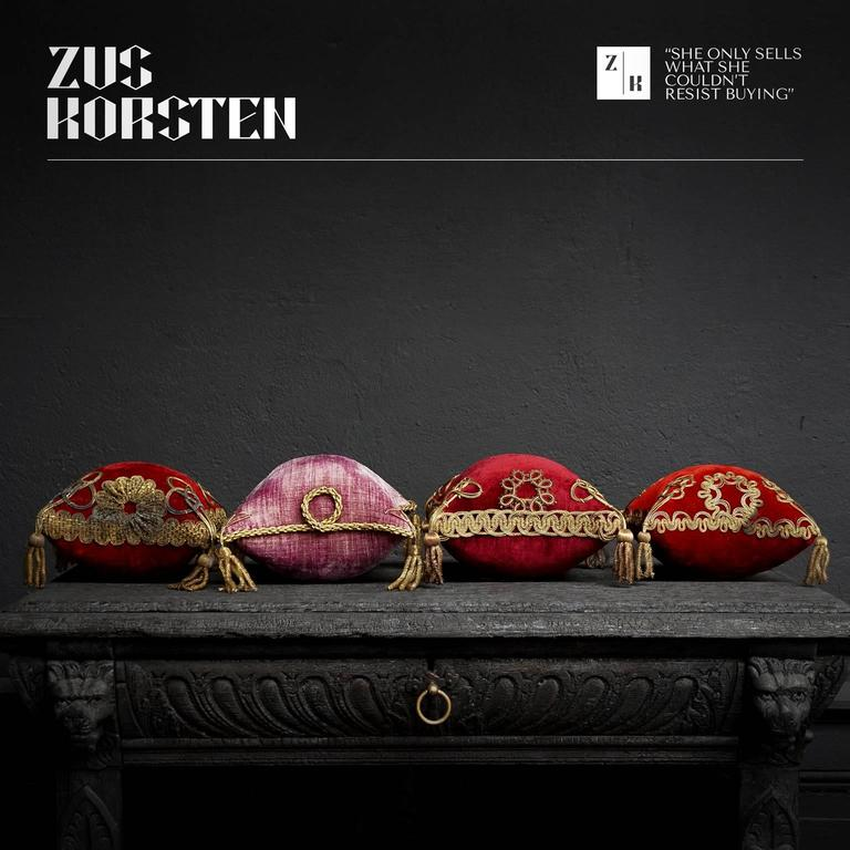 Set of four ornate antique French wedding cushions. Three of them are burgundy red and one of them is Royal purple. These opulent antique French pillows were designed to display fine wedding headdresses like wax crowns and tiara's on, made for the