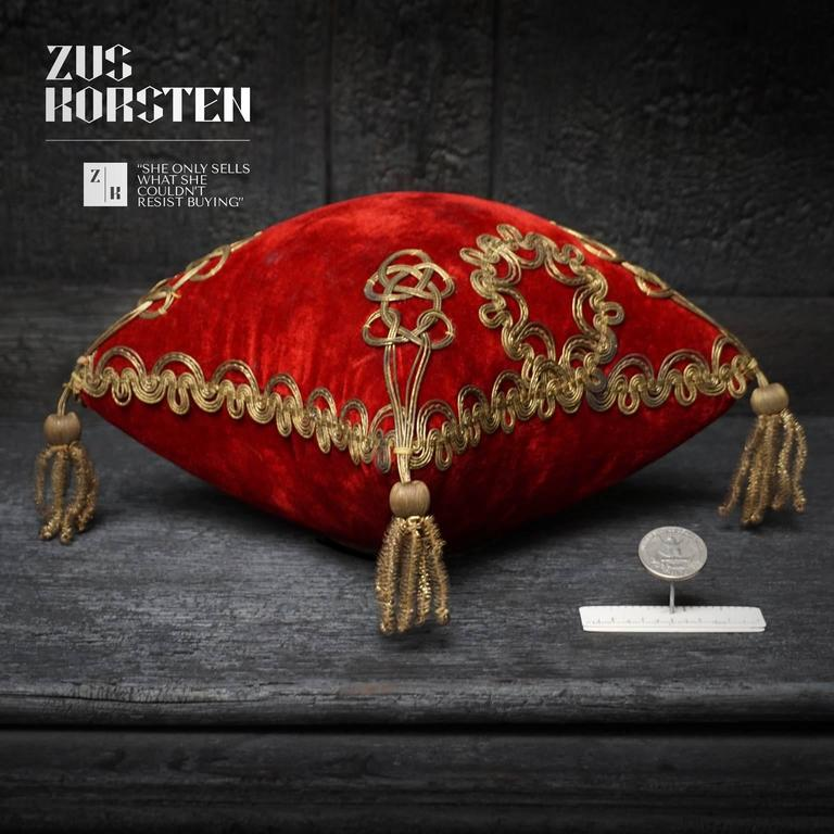 Gold Four 19th Century French Silk Velvet Marriage Cushions For Sale