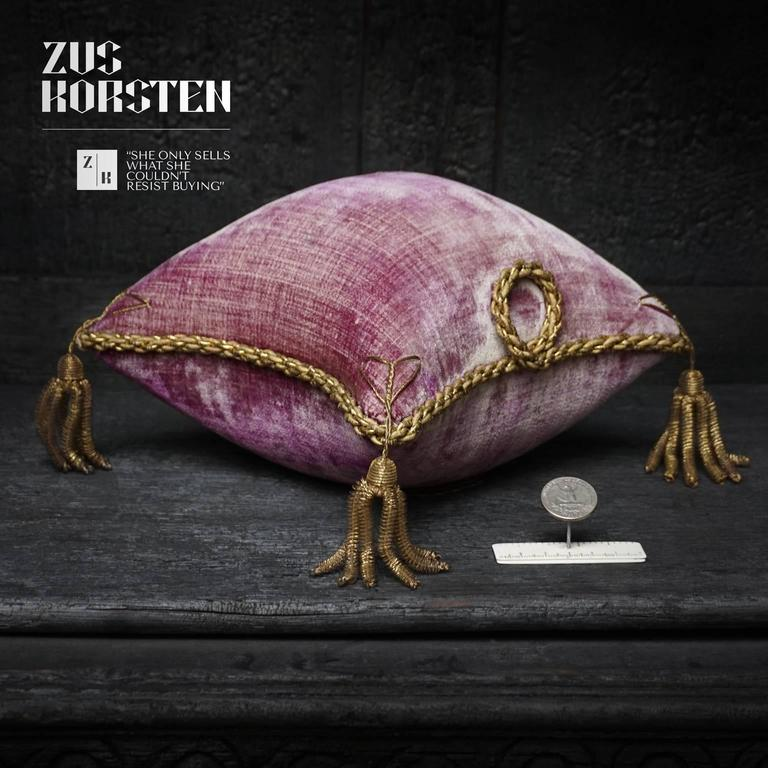 Gilt Four 19th Century French Silk Velvet Marriage Cushions For Sale