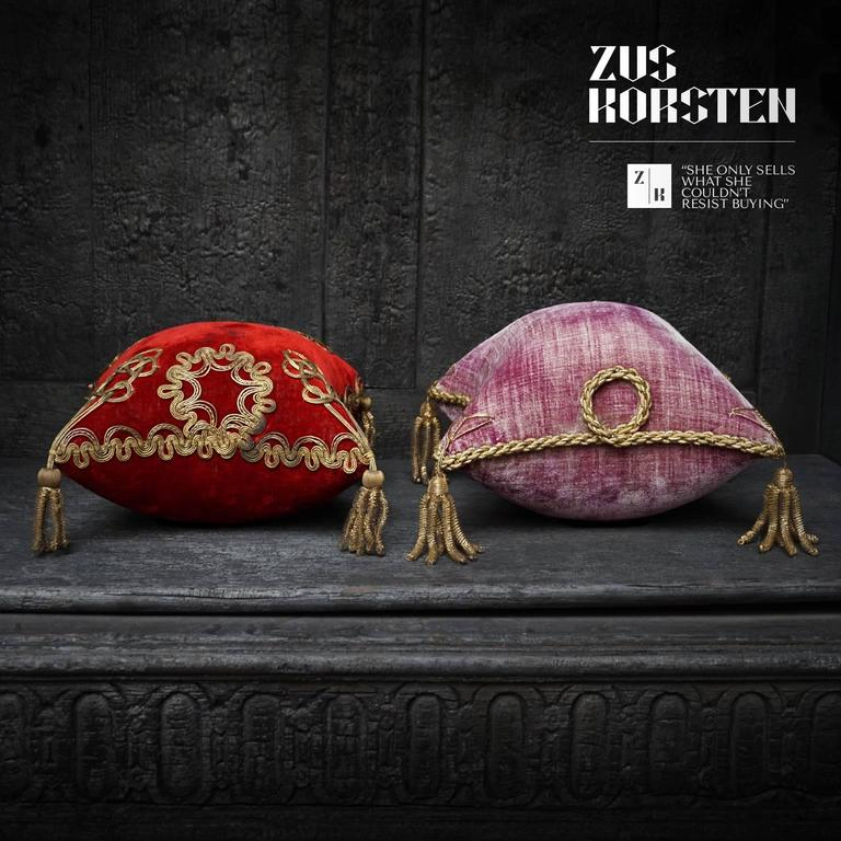 Four 19th Century French Silk Velvet Marriage Cushions For Sale 1