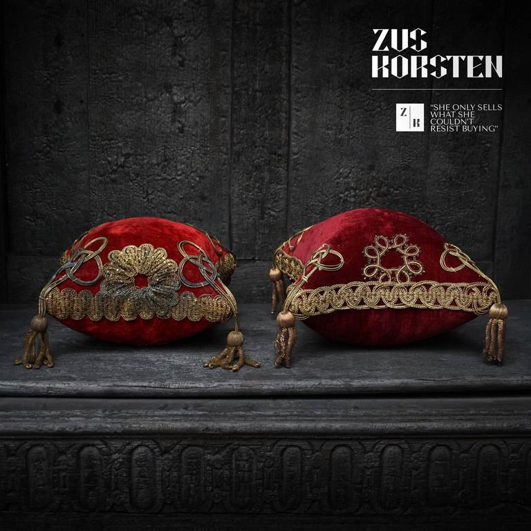Four 19th Century French Silk Velvet Marriage Cushions For Sale 2