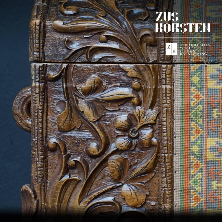 19th Century Swiss Black Forest Carved Dowry Chest or Trunk with Needlework For Sale 2