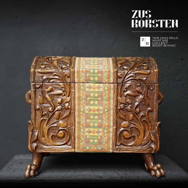 Hand-Carved 19th Century Swiss Black Forest Carved Dowry Chest or Trunk with Needlework For Sale