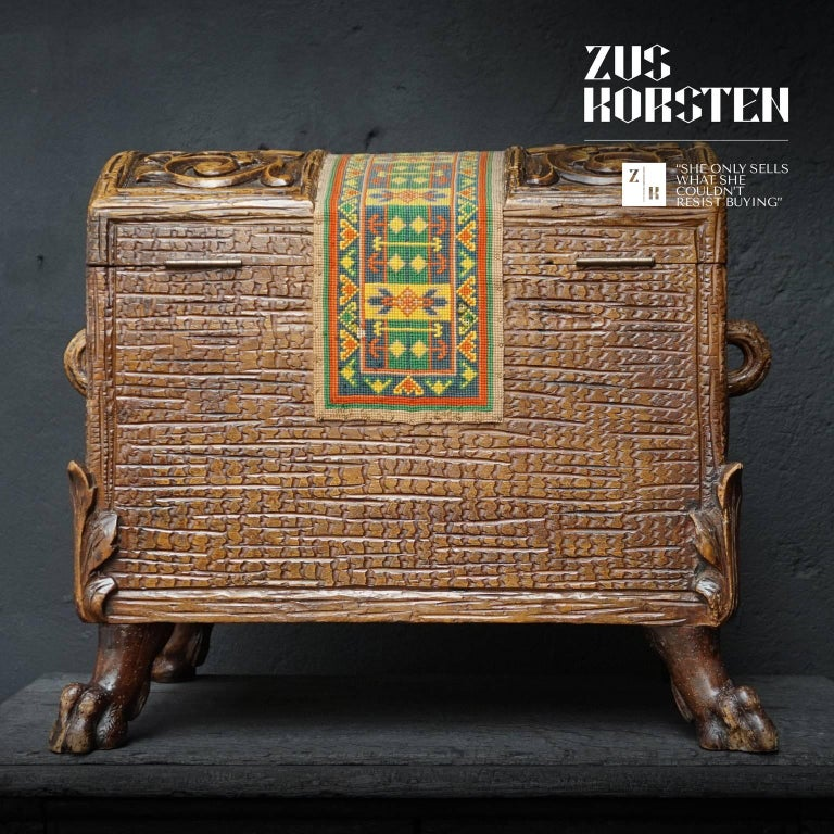 Fabric 19th Century Swiss Black Forest Carved Dowry Chest or Trunk with Needlework For Sale