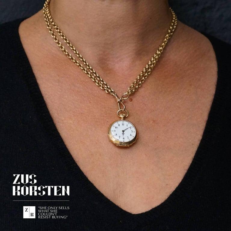 Victorian swiss 18 karat gold pocket watch pendant with chain victorian swiss 18 karat gold pocket watch pendant with chain necklace in good condition aloadofball Gallery
