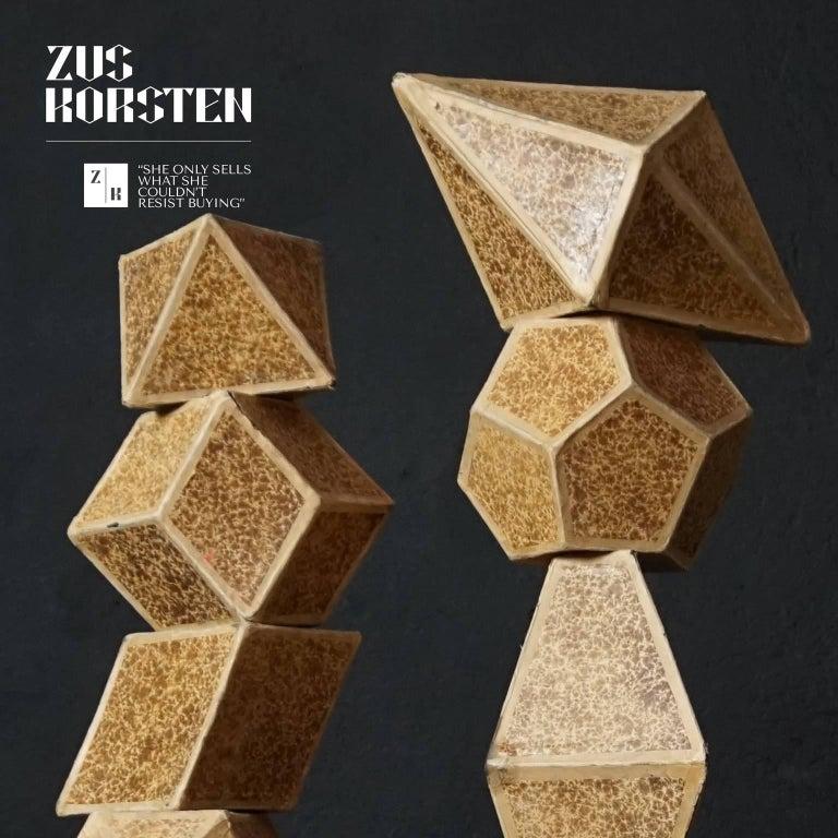 Czech Set of Nine Geometric 1920s Cardboard Science Classroom Crystal Models For Sale