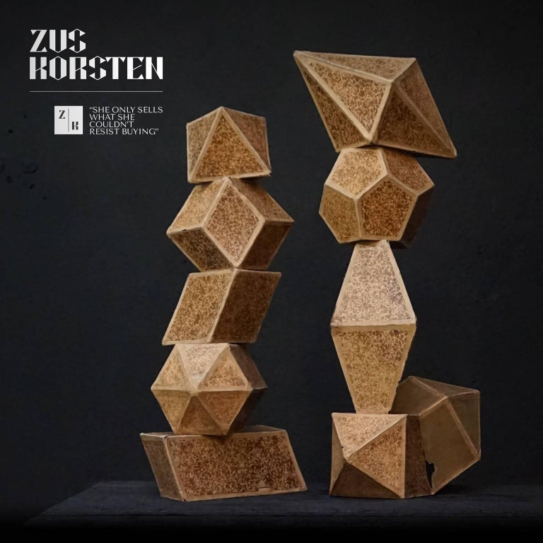 Early 20th Century Set of Nine Geometric 1920s Cardboard Science Classroom Crystal Models For Sale