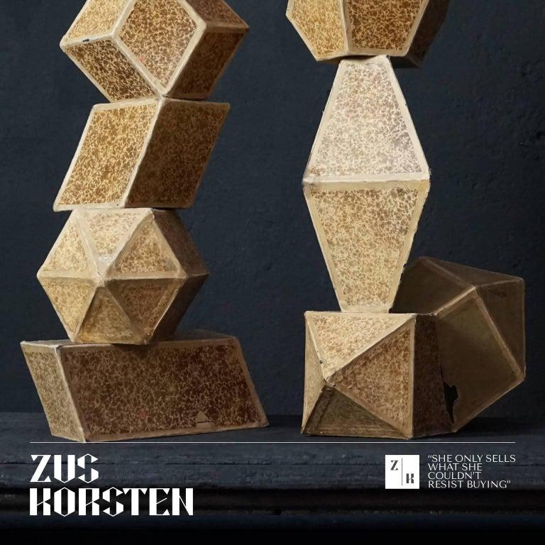 Paper Set of Nine Geometric 1920s Cardboard Science Classroom Crystal Models For Sale