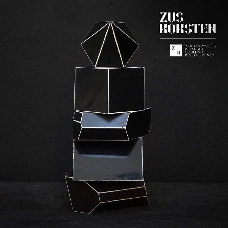 Set of Nine Geometric 1920s Cardboard Science Classroom Crystal Models For Sale 1