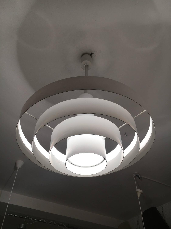 Vintage White Metal Rings Pendant Lamp For Sale At 1stdibs