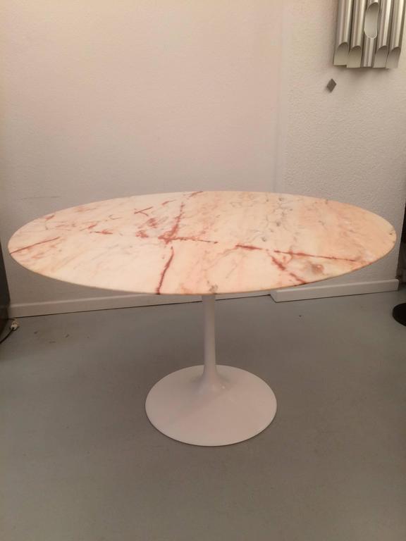 Eero Saarinen Tulip Pink Marble Dining Table At 1stdibs