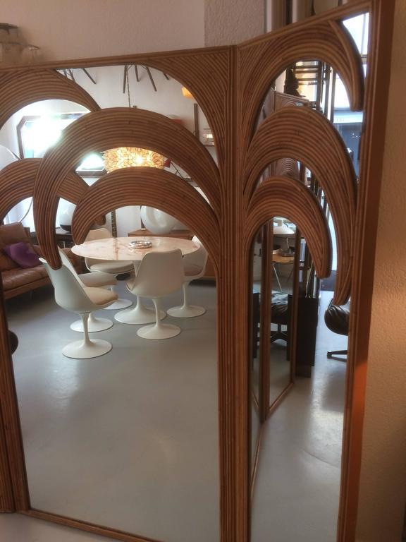 Rattan Palm Tree Mirror Folding Screen At 1stdibs