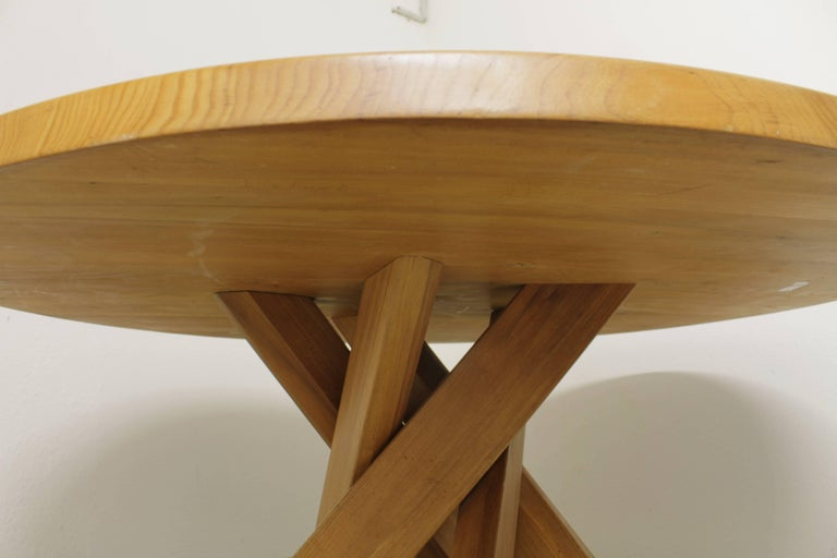 T21 solid elm dining table by Pierre Chapo, France, circa 1970.