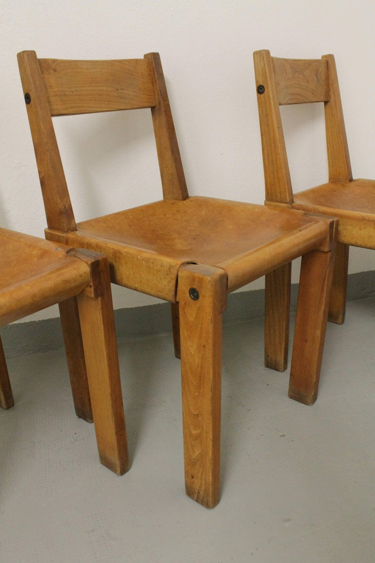 French Set of Three S24 Dining Chairs by Pierre Chapo For Sale