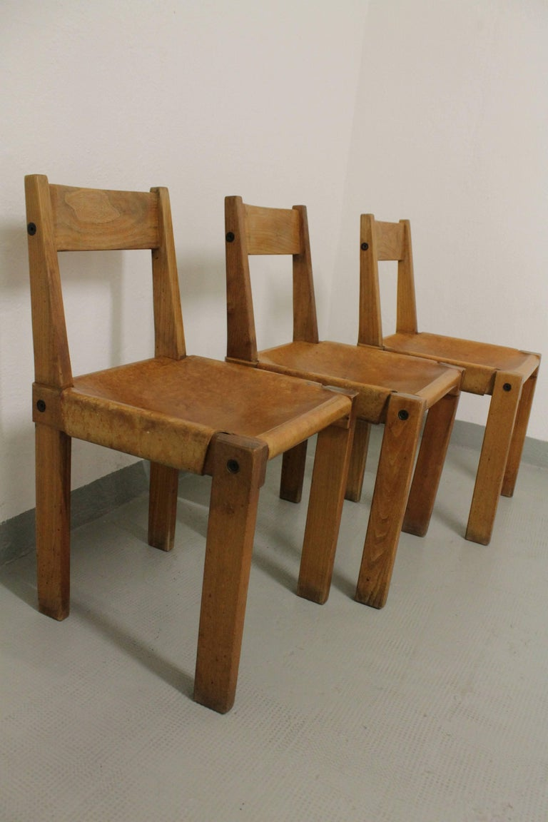 Set of Three S24 Dining Chairs by Pierre Chapo In Good Condition For Sale In Geneva, CH