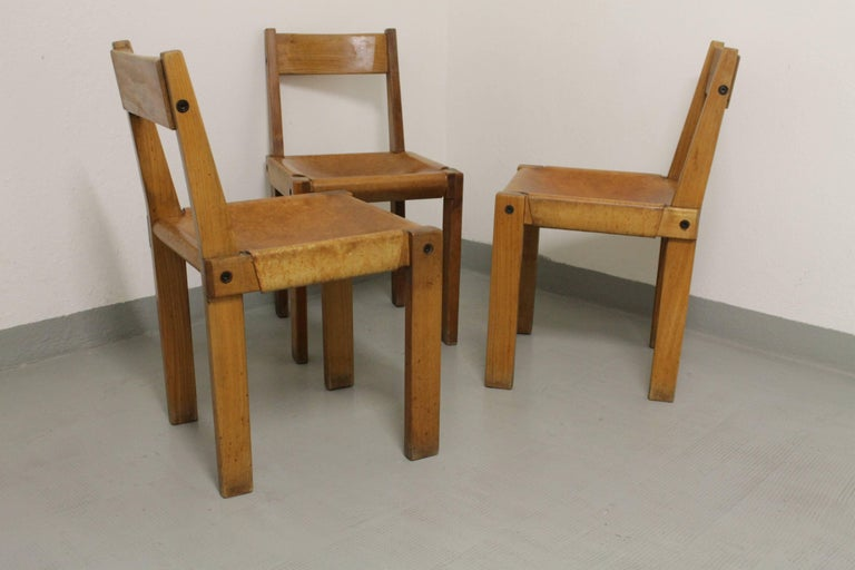 Elm Set of Three S24 Dining Chairs by Pierre Chapo For Sale
