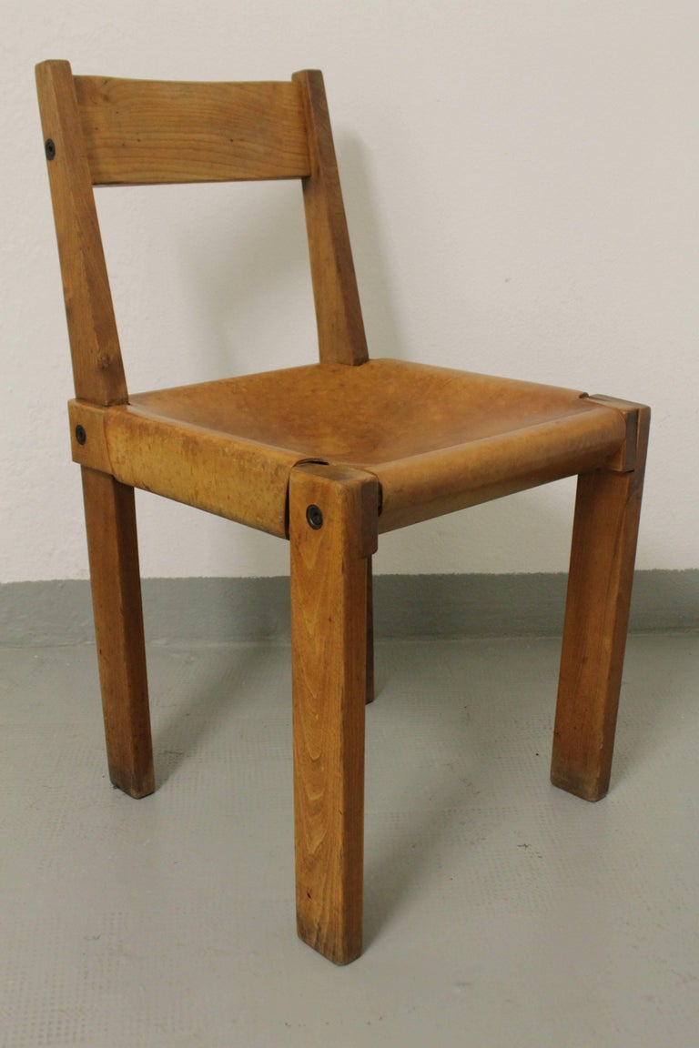 Set of Three S24 Dining Chairs by Pierre Chapo For Sale 1