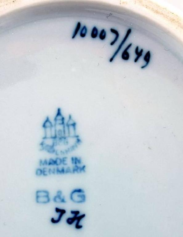 Danish B&G Bing & Grondahl Porcelain Vase with Flowers, 1930s For Sale