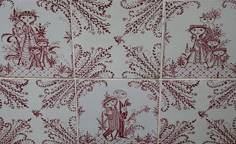 Wiinblad Tiles: Bjorn Wiinblad, Large Relief With 18 Tiles For Sale At 1stdibs