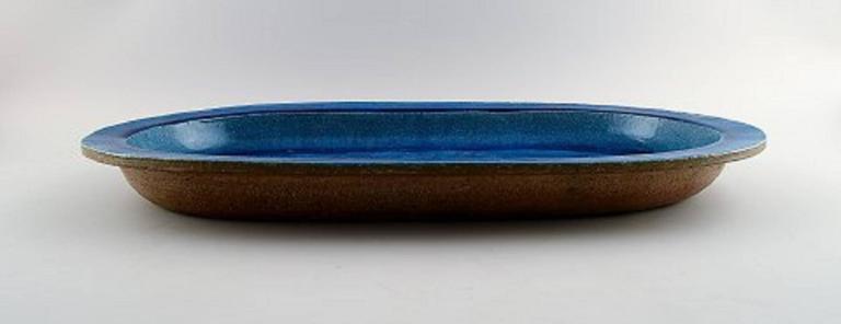 Scandinavian Modern Kähler, Denmark, Huge Glazed Stoneware Platter/Tray, 1960s For Sale
