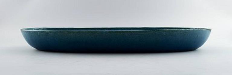 Scandinavian Modern Kähler, Denmark, Huge Glazed Stoneware Platter / Tray, 1960s For Sale