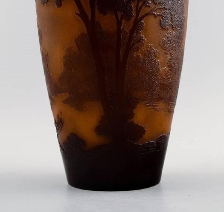 20th Century Emile Gallé Art Glass Vase, France, circa 1900, Decorated with Trees For Sale
