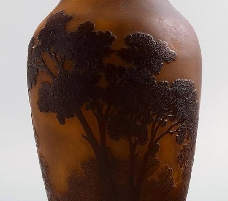 Art Nouveau Emile Gallé Art Glass Vase, France, circa 1900, Decorated with Trees For Sale