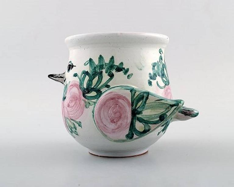 Bjorn Wiinblad Unique Ceramic Vase Or Flower Pot Pink And