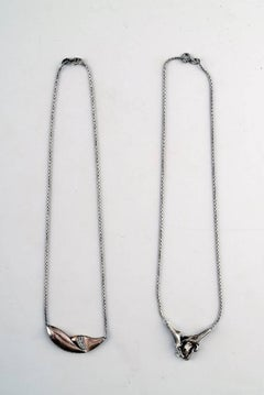 N.E. From Two Necklaces, Sterling Silver, Modern Danish Design, circa 1970s