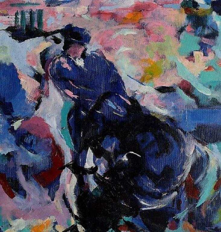 Ray Letellier, French artist born in 1921 in Paris.  Bullfighting. Oil on canvas.  Signed.  Measures: 54 x 46 cm.  In perfect condition.