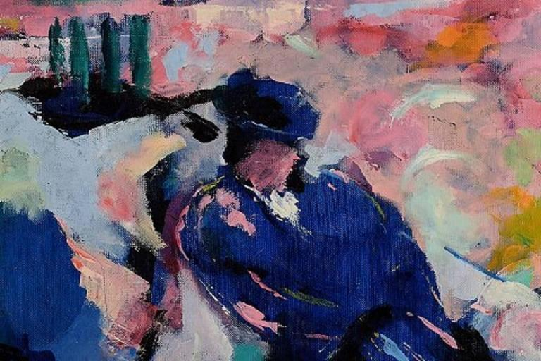 Ray Letellier, French Artist, Bullfighting, Oil on Canvas In Excellent Condition For Sale In Copenhagen, DK