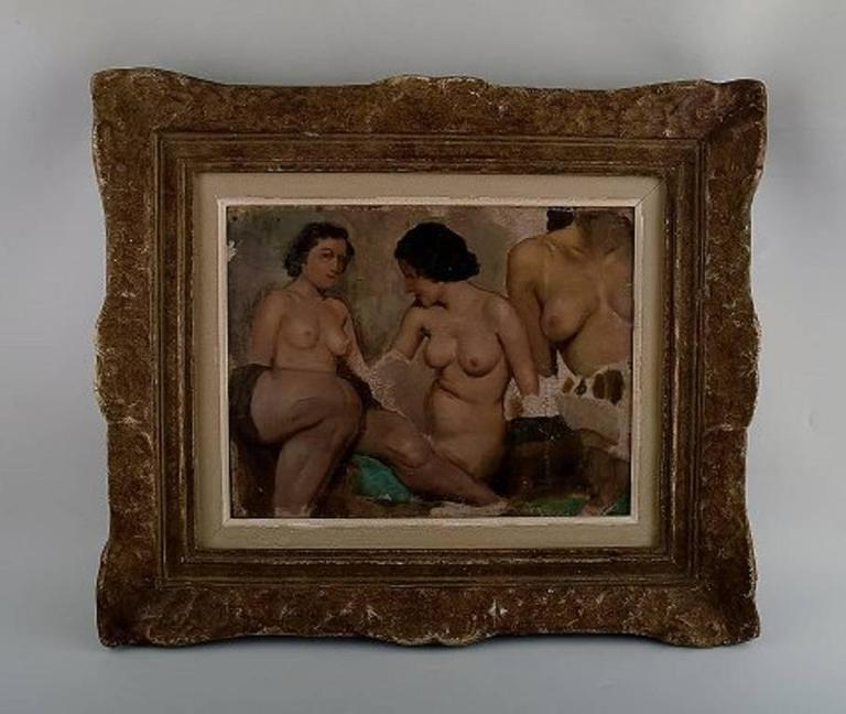 Ivan Thiele, Russian Artist, Academy Study of Naked Women, Oil on Canvas 2