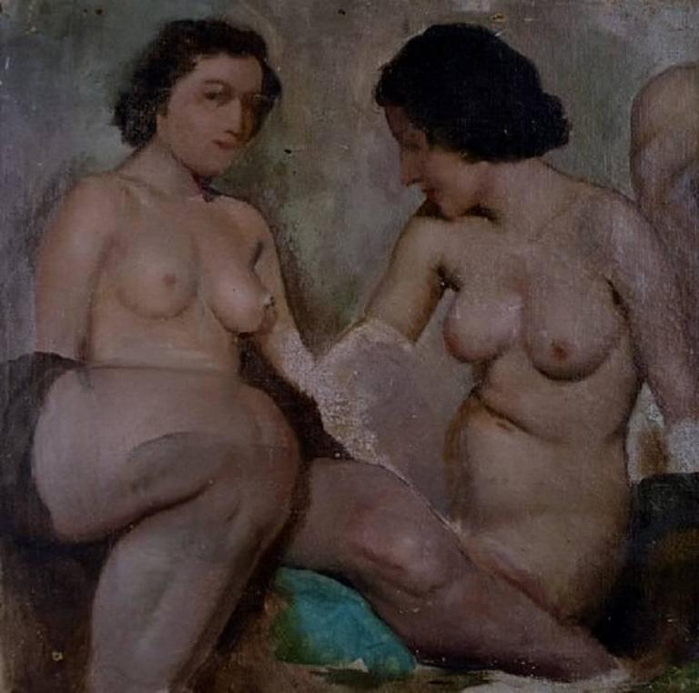 Ivan Thiele, Russian Artist, Academy Study of Naked Women, Oil on Canvas 3
