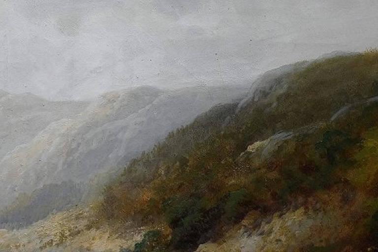 F. L. Gamerith, British Artist, circa 1900, Oil on Canvas, Landscape with River In Excellent Condition For Sale In Copenhagen, Denmark