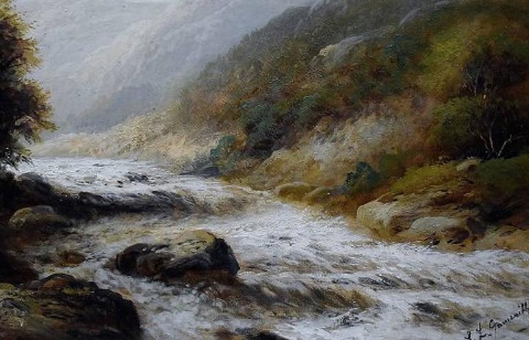 Early 20th Century F. L. Gamerith, British Artist, circa 1900, Oil on Canvas, Landscape with River For Sale