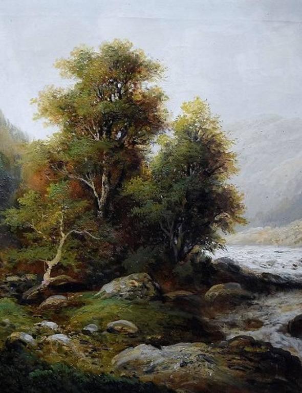English F. L. Gamerith, British Artist, circa 1900, Oil on Canvas, Landscape with River For Sale