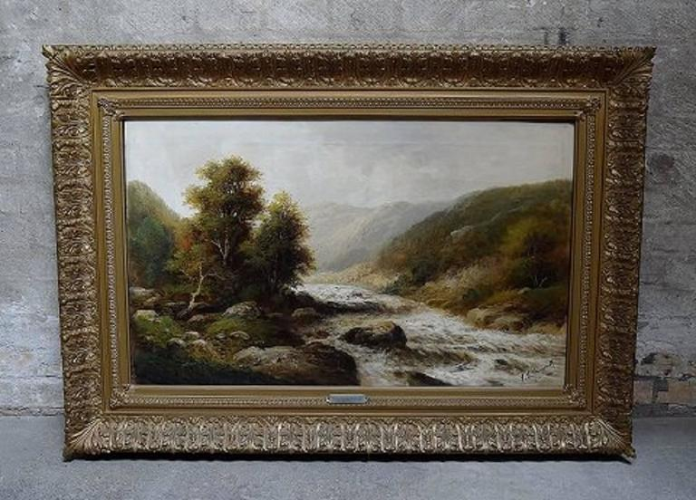 F. L. Gamerith, British artist, circa 1900.  Oil on canvas. Landscape with river.  Measures: 80 x 50 cm. Total size incl. frame (106 x 76 cm.)  Signed.  In perfect condition.