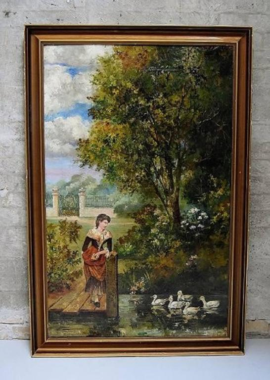 Unknown artist, park landscape, oil on canvas, circa 1900.  Signed illegible: J. V. Cairn.  In perfect condition.  Measures (ex. the frame) 101 x 69 cm.  The frame measures 6 cm.