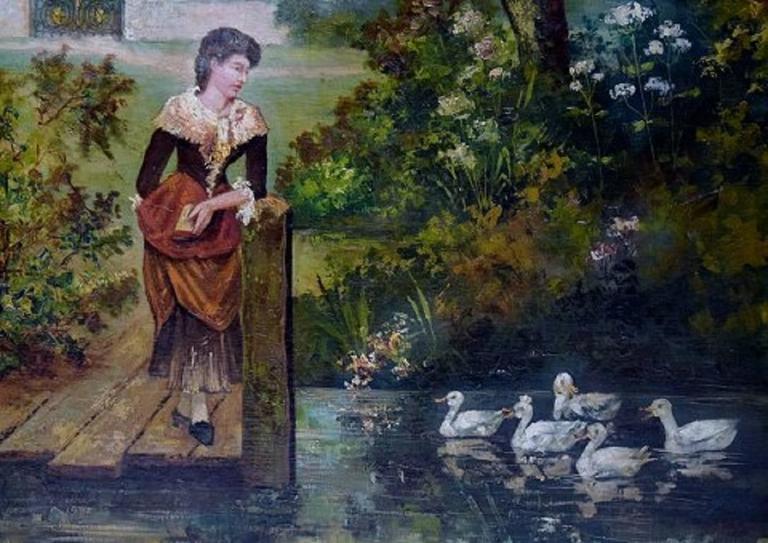 European Unknown Artist, Park Landscape, Oil on Canvas, circa 1900 For Sale