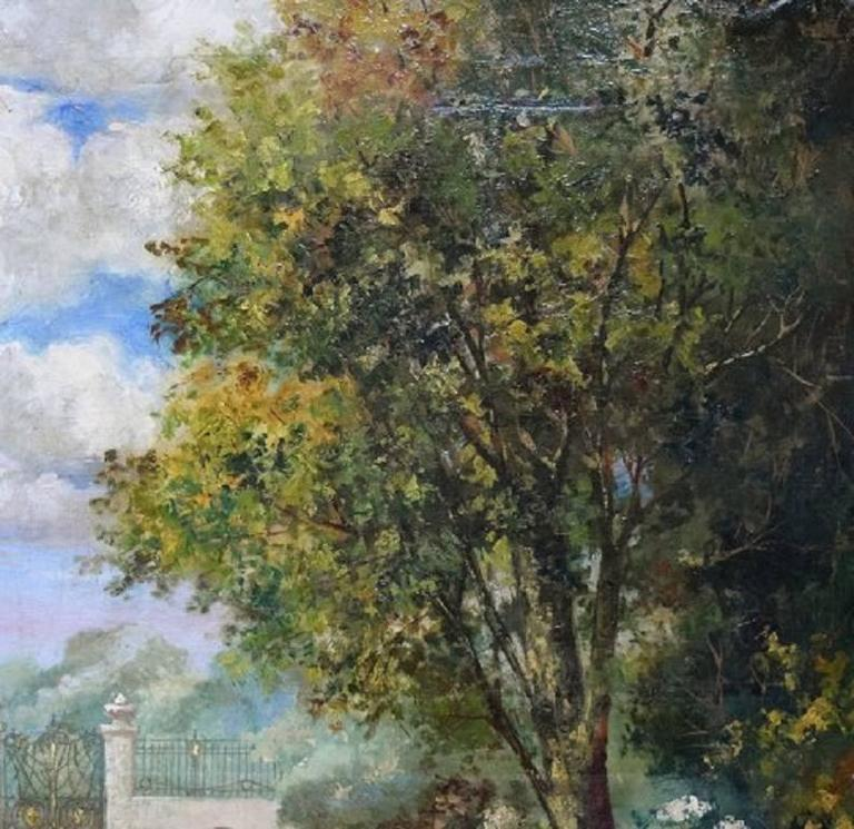 Unknown Artist, Park Landscape, Oil on Canvas, circa 1900 In Excellent Condition For Sale In Copenhagen, Denmark