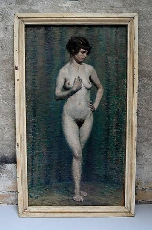 Emile Patoux (b. 1893 d. 1985) Belgian artist.  Naked portrait of young woman, circa 1930s.  Oil on canvas.  In perfect condition.  Signed.  Measures (ex. the frame) 81 x 46 cm.  The frame measures 4 cm.