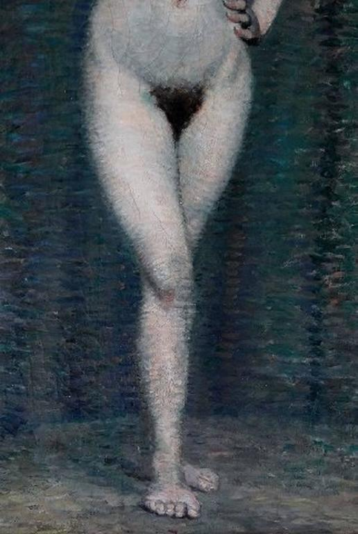 Mid-20th Century Emile Patoux, Belgian Artist, Naked Portrait of Young Woman, 1930s For Sale