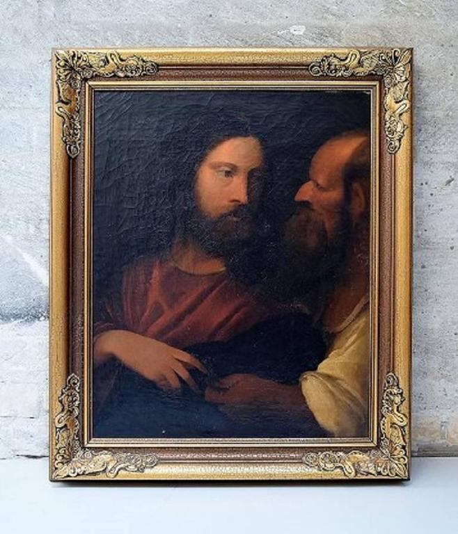 Unknown Artist, 19th Century Oil on Canvas, Biblical Motif after Titian 2