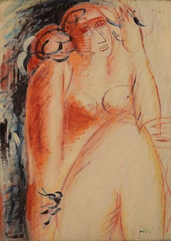 Oil on canvas, Naked woman. Unknown artist, 20th century.  In perfect condition.  Unsigned.  Measuring: 40 x 30 cm.