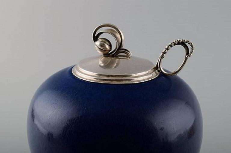 Saxbo And Georg Jensen Large Ceramic Vase With Matching Sterling Silver Lid By Hugo