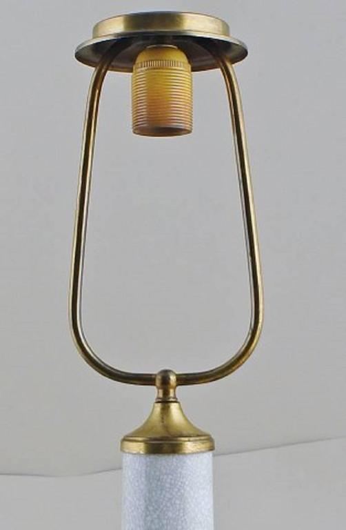 Dahl jensen table lamp crackle porcelain decorated in for Gold crackle floor lamp