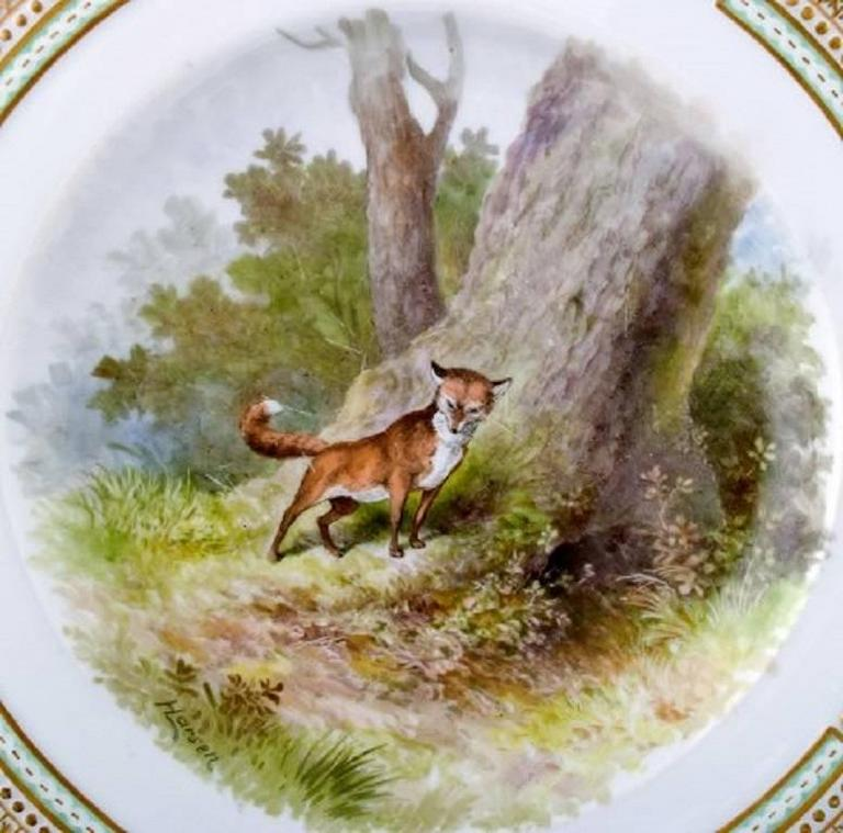 Royal Copenhagen Flora Danica / Fauna Danica dinner plate with motive of a fox in a landscape.  Painted in high quality. 25.5 cm. in diameter.  1. Quality, in perfect condition.  Model No. 239/3549.