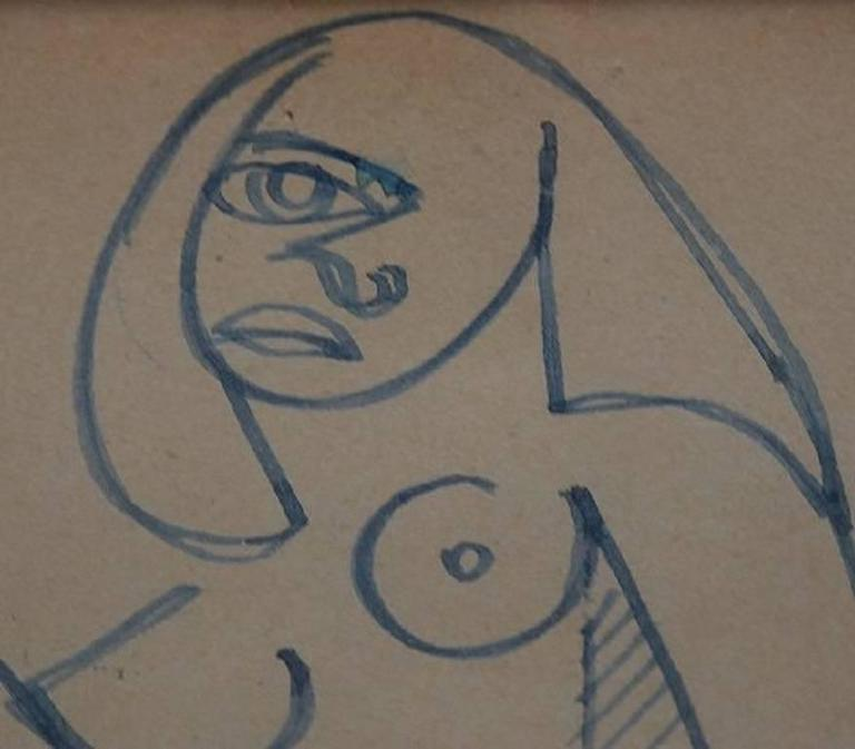 Raymond Trameau French Artist, Naked Woman In Cubist Style -5680