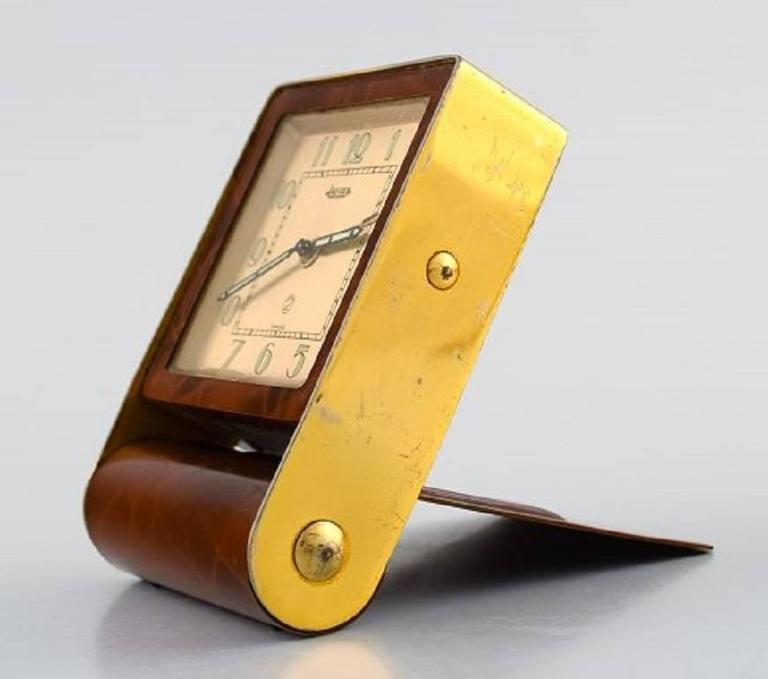Art Deco Travel Alarm Clock Tortoiseshell And Brass