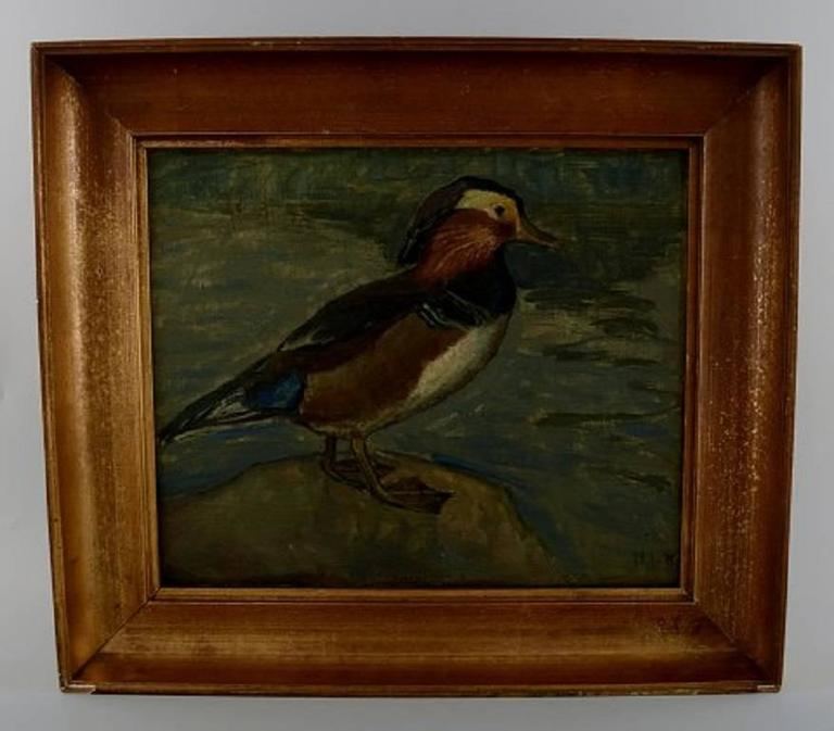 Danish artist, dated 1918  Mandarin duck, oil on canvas.  In perfect condition.  Signed indistinctly NJ, dated 1918.  Measures 35 x 29 cm. The frame measures 6 cm.